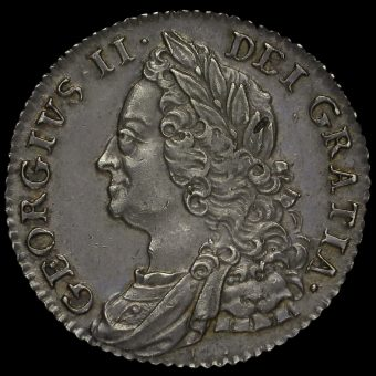 1750 George II Early Milled Silver Shilling Obverse