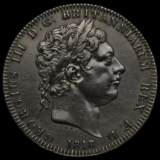 1818 George III Milled Silver LVIII Crown Obverse
