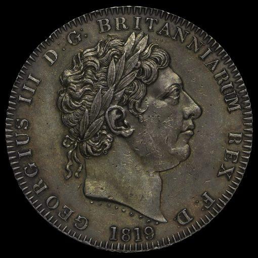 1819 George III Milled Silver LIX Crown Obverse