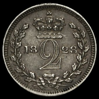 1828 George IV Milled Silver Maundy Twopence Reverse