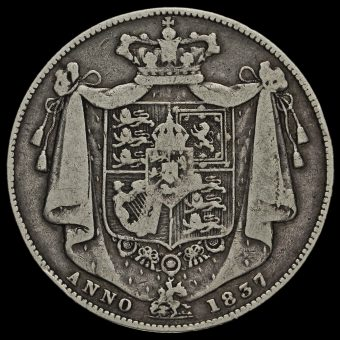 1837 William IV Milled Silver Half Crown Reverse