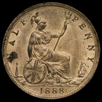 1888 Queen Victoria Bun Head Halfpenny Reverse
