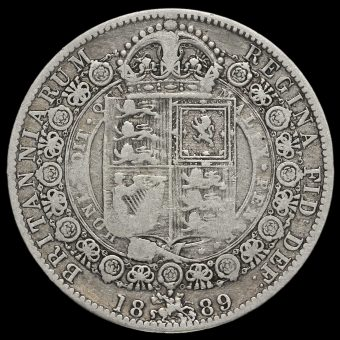 1889 Queen Victoria Jubilee Head Silver Half Crown Reverse