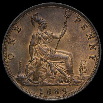 1889 Queen Victoria Bun Head Penny Reverse