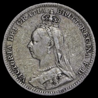 1893 Queen Victoria Jubilee Head Silver Threepence Obverse