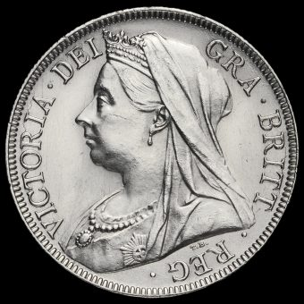 1896 Queen Victoria Veiled Head Silver Half Crown Obverse