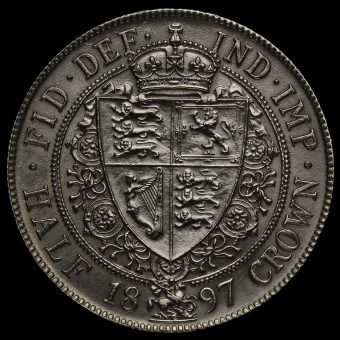 1897 Queen Victoria Veiled Head Silver Half Crown Reverse
