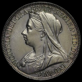 1898 Queen Victoria Veiled Head Silver Florin Obverse