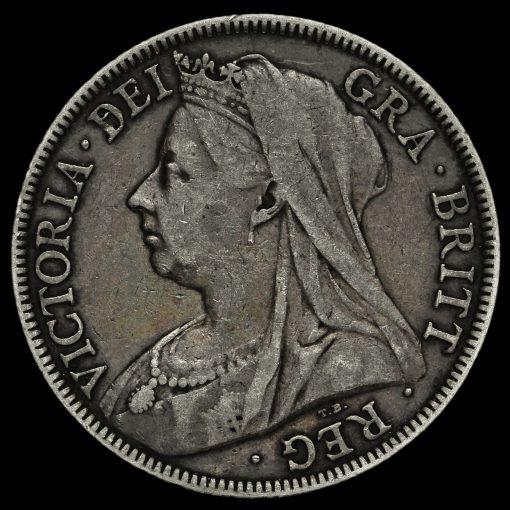 1898 Queen Victoria Veiled Head Silver Half Crown Obverse