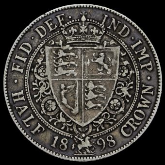 1898 Queen Victoria Veiled Head Silver Half Crown Reverse