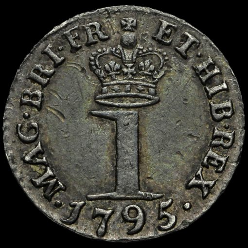 1795 George III Early Milled Silver Maundy Penny Reverse