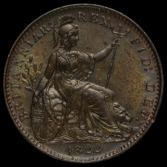 1822 George IV Copper Farthing Reverse