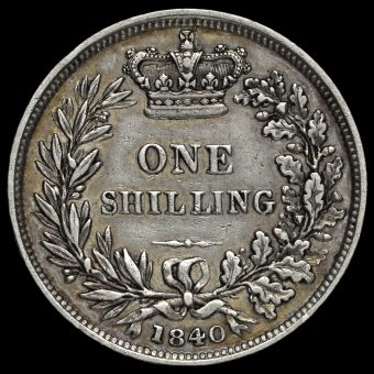 1840 Queen Victoria Young Head Silver Shilling Reverse