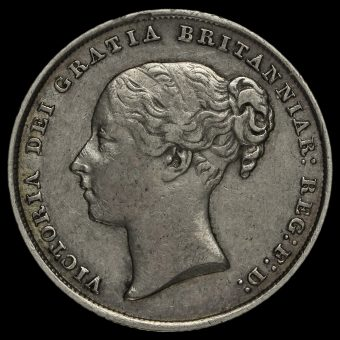 1842 Queen Victoria Young Head Silver Shilling Obverse