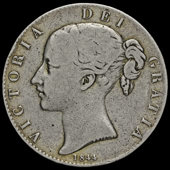 1844 Queen Victoria Young Head Silver Crown Obverse