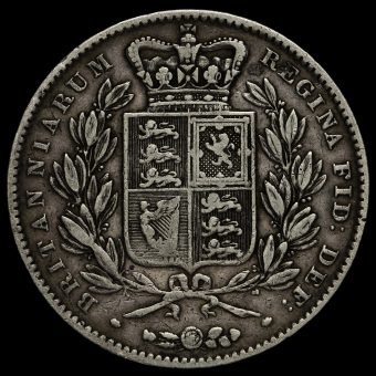 1847 Queen Victoria Young Head Silver XI Crown Reverse