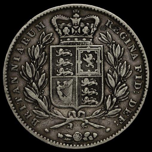 1847 Queen Victoria Young Head Silver XI Crown Reverse