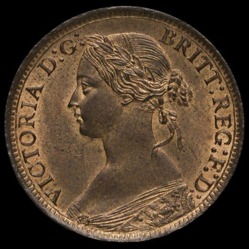 1866 Queen Victoria Bun Head Farthing Obverse