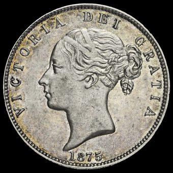 1875 Queen Victoria Young Head Silver Half Crown Obverse