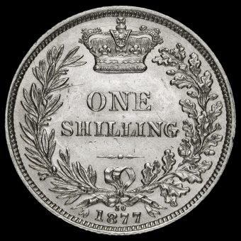 1877 Queen Victoria Young Head Silver Shilling Reverse