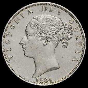 1884 Queen Victoria Young Head Silver Half Crown Obverse