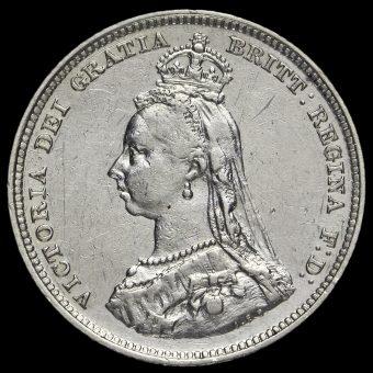 1888 Queen Victoria Silver Shilling (8 over 7) Obverse