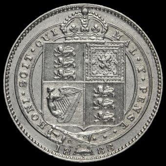 1888 Queen Victoria Silver Shilling (8 over 7) Reverse