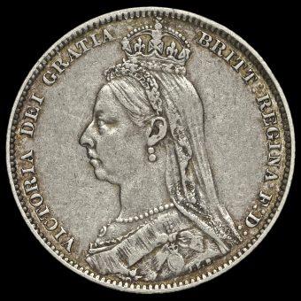1890 Queen Victoria Jubilee Head Silver Shilling Obverse