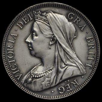 1896 Queen Victoria Veiled Head Silver Half Crown Obverse