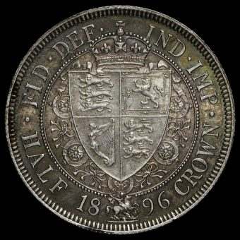 1896 Queen Victoria Veiled Head Silver Half Crown Reverse