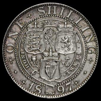 1897 Queen Victoria Veiled Head Silver Shilling Reverse