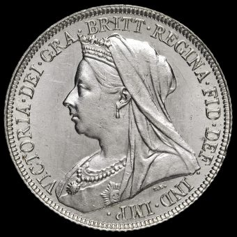 1897 Queen Victoria Veiled Head Silver Shilling Obverse