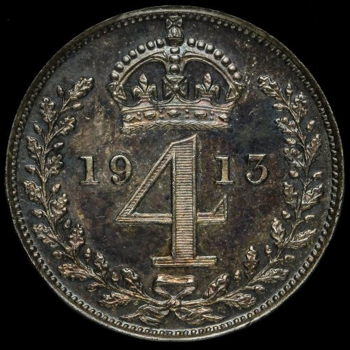 1913 George V Silver Maundy Fourpence Reverse