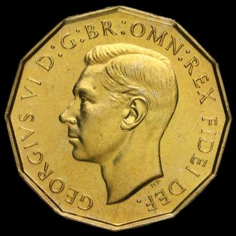 1950 George VI Proof Brass Threepence Obverse