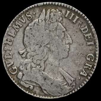 1697 William III Early Milled Silver Half Crown Obverse