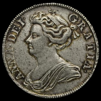 1708 Queen Anne Early Milled Silver Septimo Half Crown Obverse