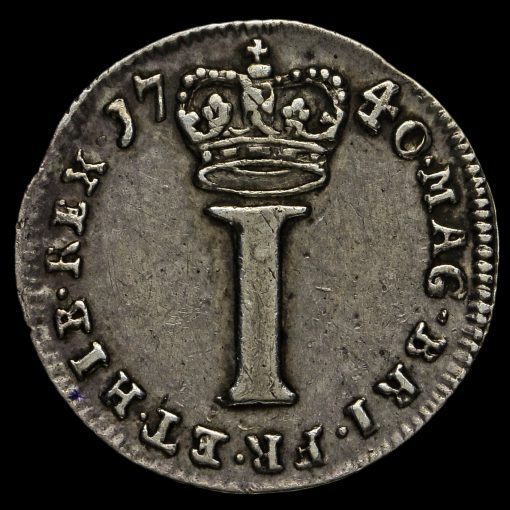 1740 George II Early Milled Silver Maundy Penny Reverse