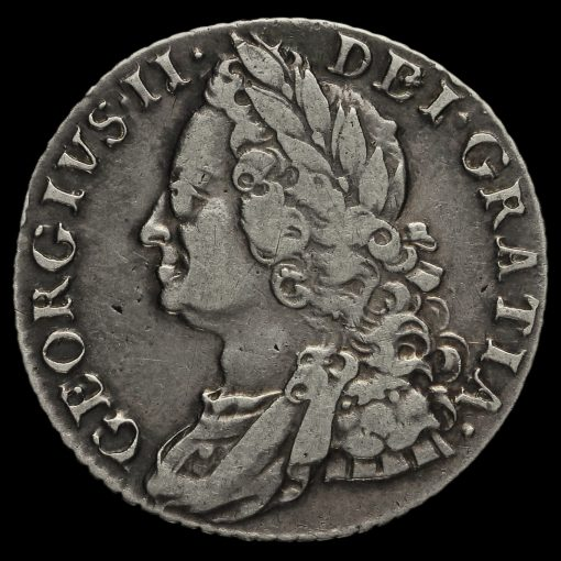 1758 George II Early Milled Silver Shilling Obverse