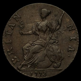 1773 George III Early Milled Copper Halfpenny Reverse