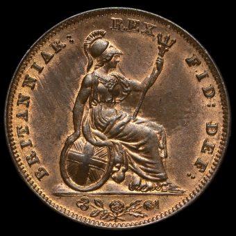 1837 William IV Copper Farthing Reverse