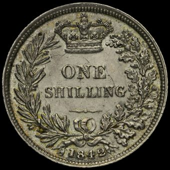 1842 Queen Victoria Young Head Silver Shilling Reverse
