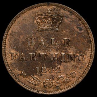 1844 Queen Victoria Bun Head Half Farthing Reverse