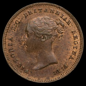 1844 Queen Victoria Bun Head Half Farthing Obverse