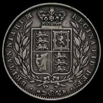 1846 Queen Victoria Young Head Silver Half Crown Reverse