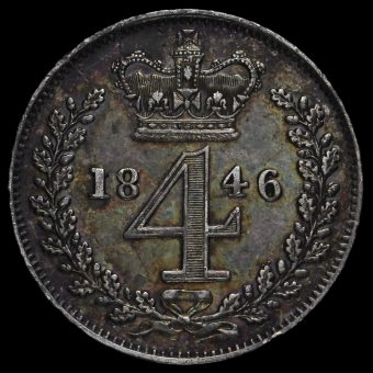 1846 Queen Victoria Young Head Silver Maundy Fourpence Reverse