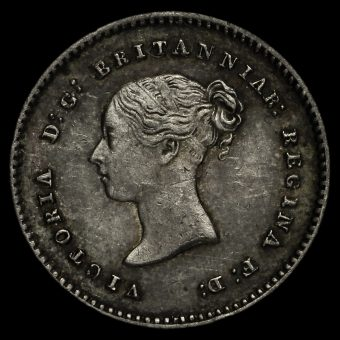 1852 Queen Victoria Young Head Silver Maundy Twopence Obverse