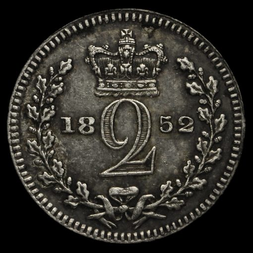 1852 Queen Victoria Young Head Silver Maundy Twopence Reverse