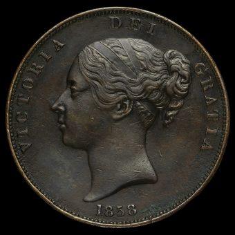 1858 Queen Victoria Young Head Copper Penny Obverse
