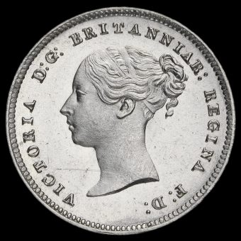 1859 Queen Victoria Young Head Silver Maundy Fourpence Obverse