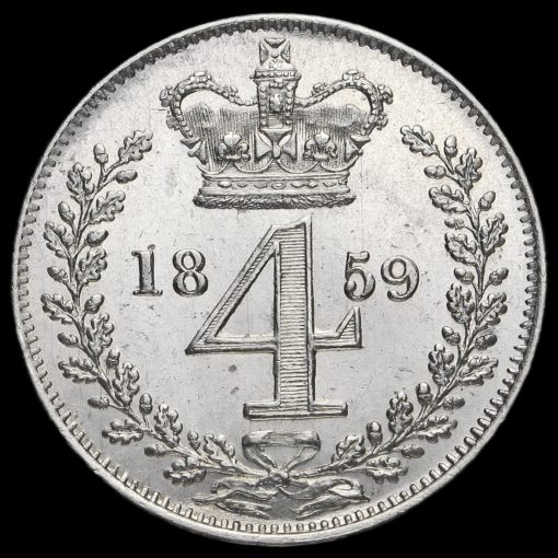 1859 Queen Victoria Young Head Silver Maundy Fourpence Reverse